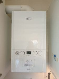 White boiler freshly serviced, the brand is ideal and on the front of the boiler, there is a card that details when the last boiler service was and when the next boiler service should be to help avoid any confusion